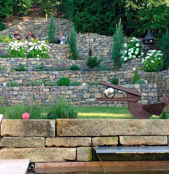 den vorderen Hang mit Naturmauern und Hortensien? Gartenideen - verputzte beton mauer bilder gartengestaltung