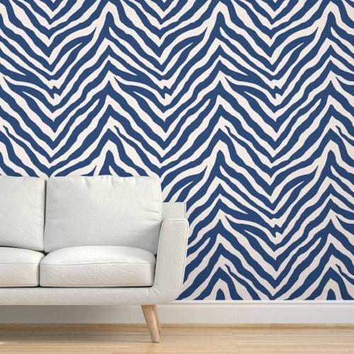 Zebra In Navy Striped Wallpaper Zebra Striped Wallpaper Zebra Print Wallpaper