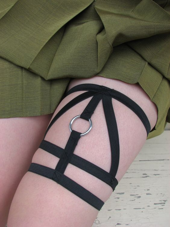 harry potter deathly hollows leg harness garter by KinkyShit, $17.00: