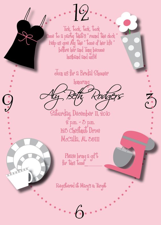 Wedding showers clock and showers on pinterest for Around the clock bridal shower decoration ideas