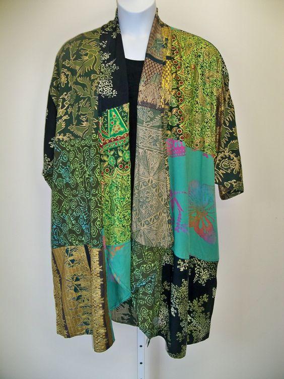 Green Gold Cascading Patch Kimono Jacket NWT  1X - 4X OS   Art to Wear