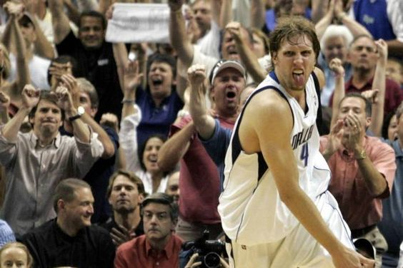 Dirk Nowitzki after making a shot in Game 2 of the 2006 Western Conference Finals between the Dallas Mavericks and the Phoenix Suns. (Brad Loper/The Dallas Morning News)