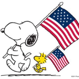 Patriotic Snoopy and Woodstock: