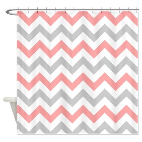 Coral and Grey Chevron Shower Curtain | Chevron shower curtains ...