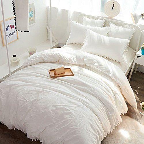 Amazon Com Meaning4 Pom Poms Fringe Cotton Duvet Cover White Twin
