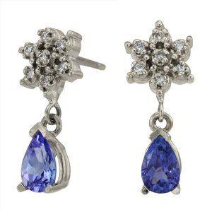 Amazon.com: Sterling Silver Pear Shape Tanzanite and Diamond Earrings: Da'Carli: Jewelry