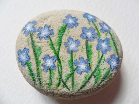 Baby blue eyes flower- Hand painted paperweight rock painting - Beach pebble art