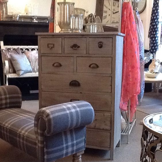 These beautiful pieces arrived at the beginning of January & already have created loads of interest in our 2 story Town house shelf. The grey check stool  & rustic chest of drawers with random handles are so uniquely beautiful. Please don't hesitate to ask for sizes & prices.