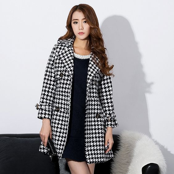 winter All match Suit Houndstooth Slim Outerwear Wool & Blends Women Coats