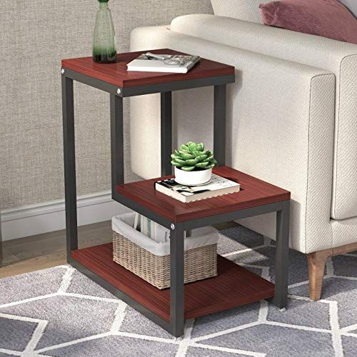 New Furnibuy End Table 3 Tier Side Table Storage Shelf Rustic Nightstand Sturdy Metal Frame Living Room Bedroom Small Space Easy Assembly Night Ta In 2020 Side Table With Storage Rustic Nightstand