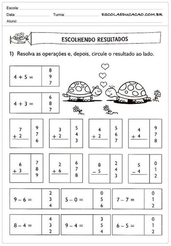 Atividades de Matemática 1º ano - Escolhendo resutlados                                                                                                                                                      Mais