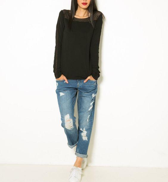 T-shirt femme manches longues, col arrondie et jean boyfriend - Camaïeu