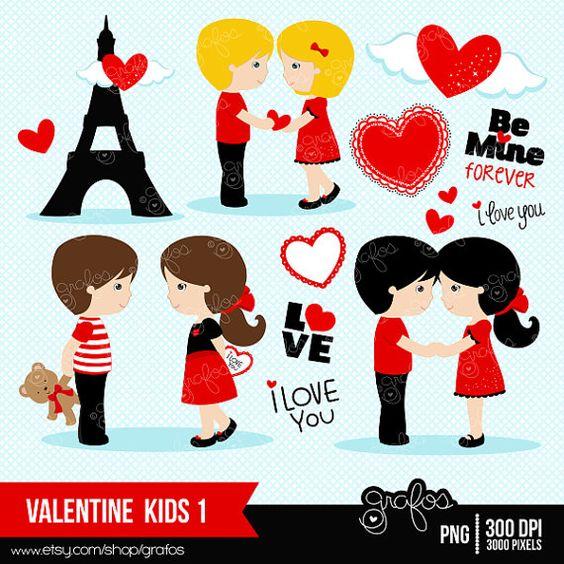 Clip Art Happy Valentines Day Clip Art valentine kids 1 digital clipart happy valentines day by grafos 5 00
