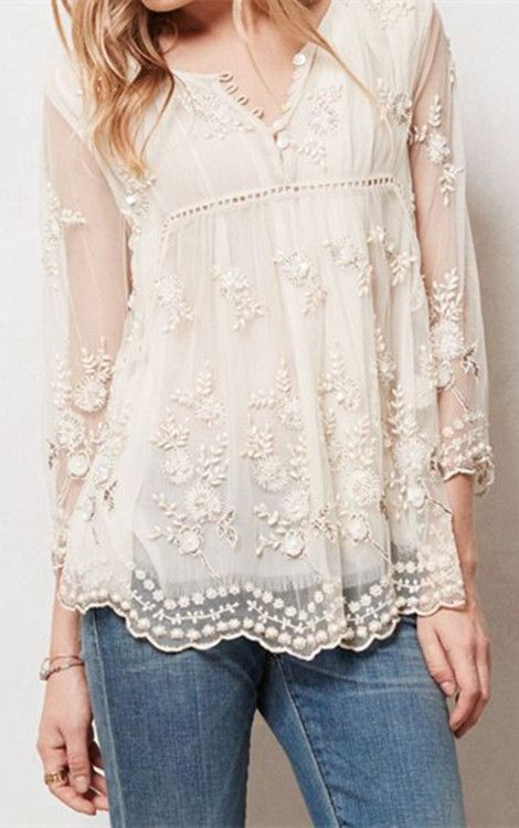 Chic See-Through Round Neck Flower Embroidery Long Sleeve Blouse ...