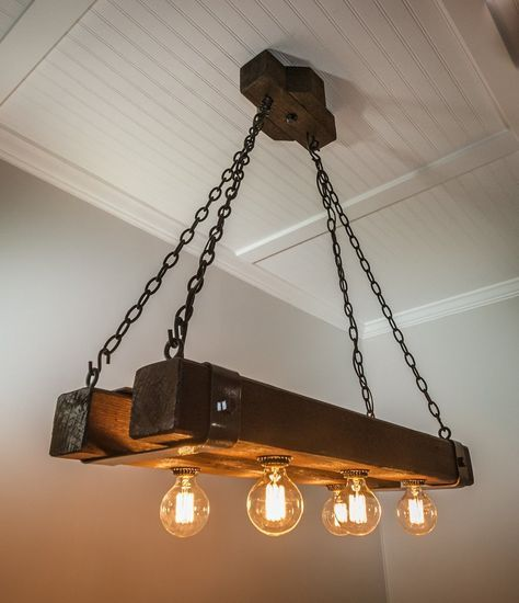 The Double Barrel Beam Chandelier Wooden Chandelier Wood Lamps Wood Beams
