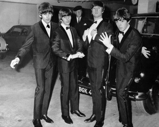 The Beatles at the premiere party for their film 'A Hard Day's Night'