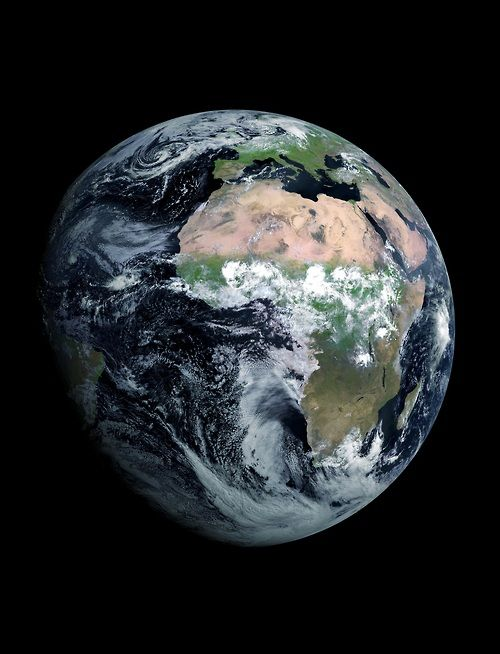 A photograph of Planet Earth taken on August 7. 2012 by the new Meteostat Second Generation (MSG-3) satellite.