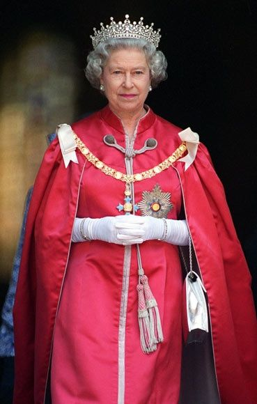 Queen Elizabeth II wearing the Girls of Great Britain Tiara
