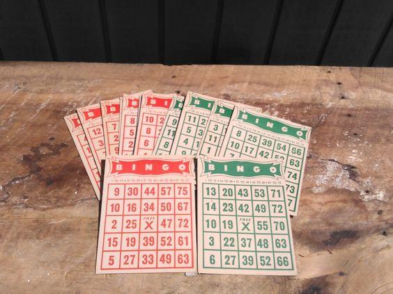 Bingo Cards - 15 Vintage Bingo Cards - Red & Green Bingo Cards by…
