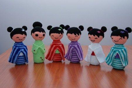 Colección de kokeshi patrón