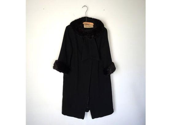 Vintage 1950s Wool Coat / Lilli Ann Designer 50s 60s Fur Trim Coat - Small/Medium