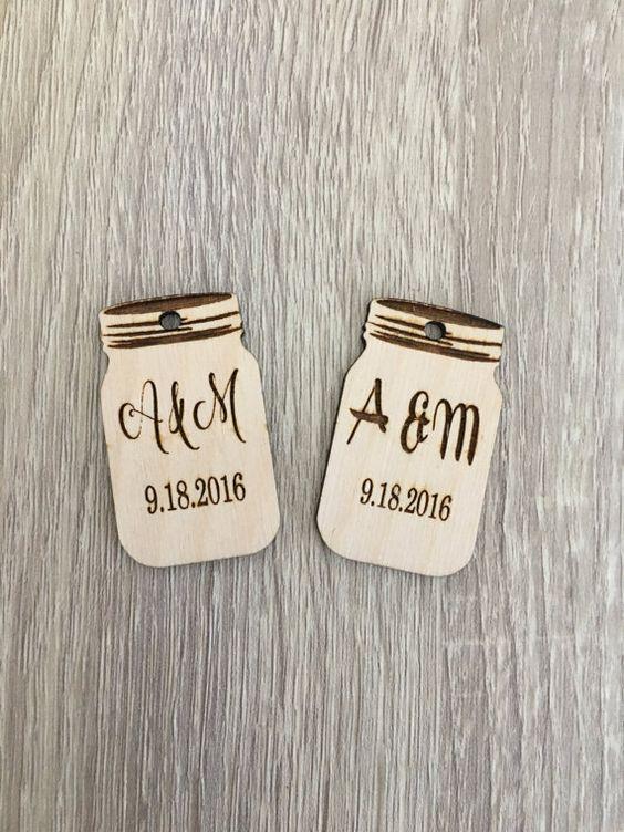 25 Custom Wooden tagsmason jar wedding by RusticInvitesAndmore