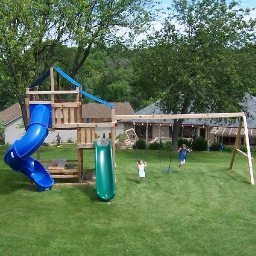 Swing sets swing set kits and wooden swing sets on pinterest for Wooden swing set plans