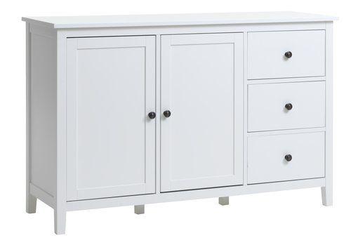 Tálaló Nordby 2 Ajtó 3 Fiók Fehér Jysk Locker Storage Sideboard Cabinet Storage