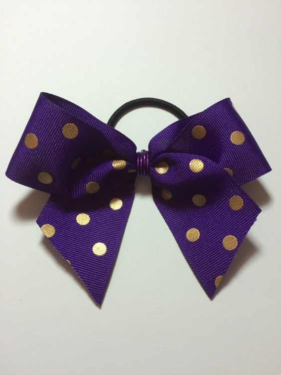 Purple and Gold Polka Dot Hair Bow / Girls Accessories/ by DayLaVi