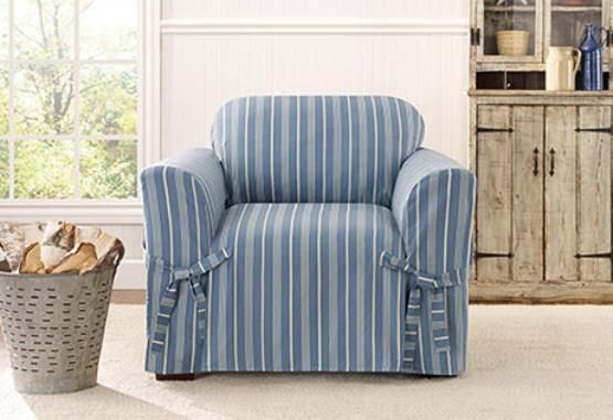Sure Fit Slip Cover Slipcover Box Cushion Chair Grain Sack Stripe Blue Surefit Contemporary Slipcovers For Chairs Slipcovers Sure Fit Slipcovers