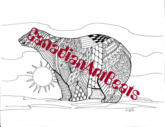 Coloring Page Downloadable Polar Bear Endangered Animal Printable Art by CanadianArtBeats on Etsy