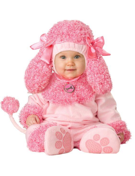 Déguisement caniche rose pour bébé - Premium : Ce déguisement pour bébé est composé d'une combinaison, d'une cagoule, d'une paire de chaussons et d'une queue amovible.Entièrement rose, la...
