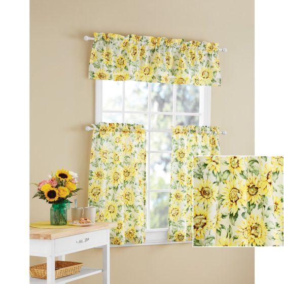 Mainstays Sunflower 3 Piece Kitchen Curtain Tier And Valance Set Walmart Com In 2020 Kitchen Curtains And Valances Kitchen Curtains Yellow Kitchen Curtains