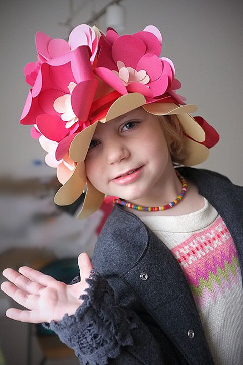 Fun diy floral paper hat for kids from handmade charlotte for Craft hats for kids