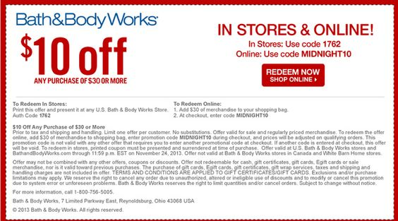 Bath and body works printable store coupons 2018