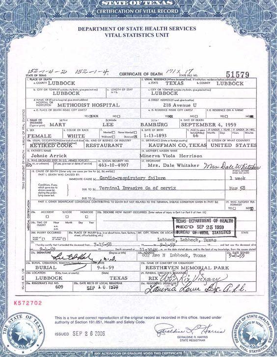 Blank Death Certificates Templates |   Certificate Kanushop