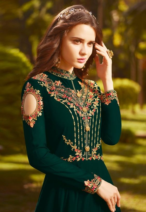 Dark Green Multi Embroidered Georgette Anarkali Suit - Hatkay