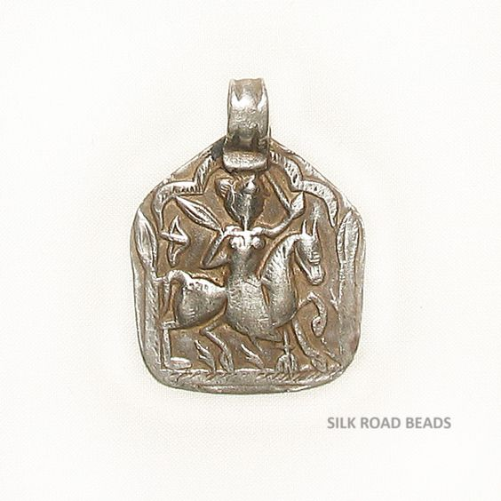 Antique silver Bhumiya Raj amulet pendant, hand made in India.