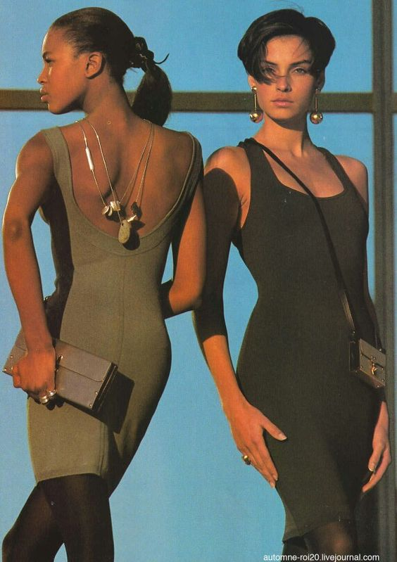 "US ELLE 1987 ""Body or Bust!"" Models: Naomi Campbell & Famke Jansen Photographer: Marc Hispard:"