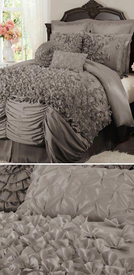 Lovely Layered Ruffle Comforter Set ♥ L.O.V.E. | Bed sets ... Ruffled Bedspreads