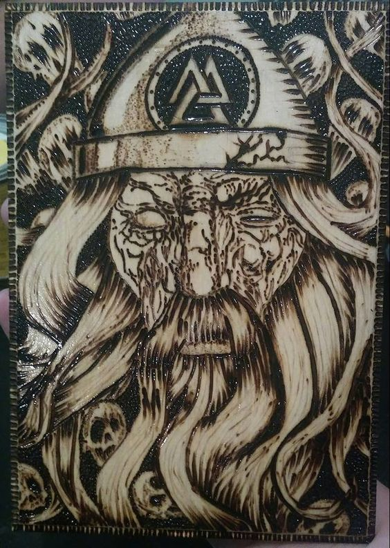 odin wood burn art plaque coats art and woods. Black Bedroom Furniture Sets. Home Design Ideas