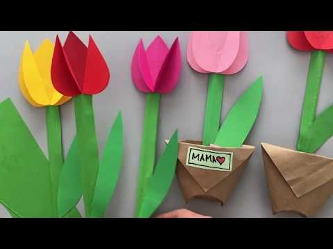 Gorgeous 3d Paper Tulip Flower Craft Youtube In 2020 Flower Crafts Crafts Mothers Day Crafts For Kids