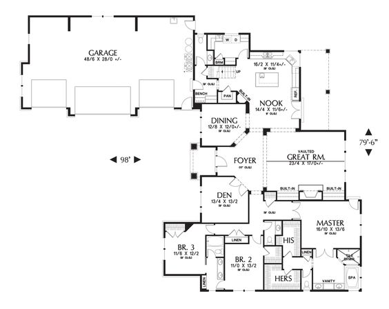Mascord house plan 2377 house plans pantry and craftsman House plans mascord