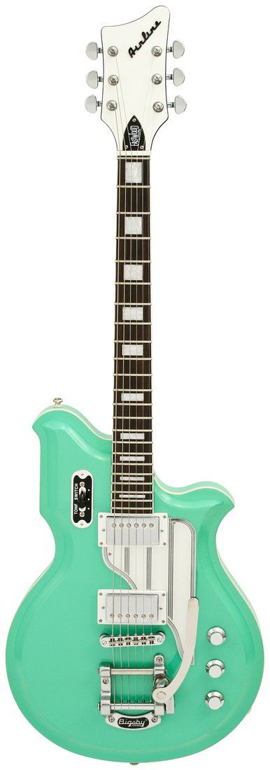 Airline guitar - notice the VERY different body shape of this electric guitar with huge block fret markers. Blue paint looks like 1950s vintage cars. #Research #DdO:) - https://www.pinterest.com/DianaDeeOsborne/instruments-for-joy/ - INSTRUMENTS FOR JOY. Eastwood & Airline Guitars are vintage replicas that play, sound & look better than the classics they pay tribute to. Brand of electric & acoustic guitars made in USA 1958- 1968 by Valco Manufacturing Company: sold thru Montgomery Ward.