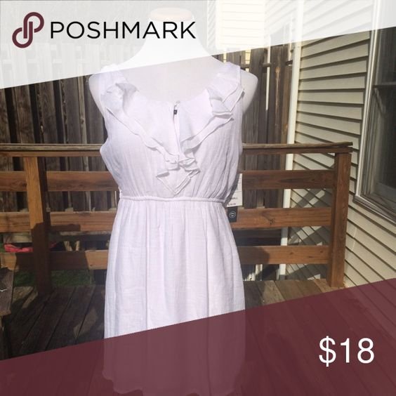 NWT White Chiffon Type Dress This is a great dress for spring and summer. The fabric is light and flowy. Keyhole front with ruffled bodice. As U Wish Dresses
