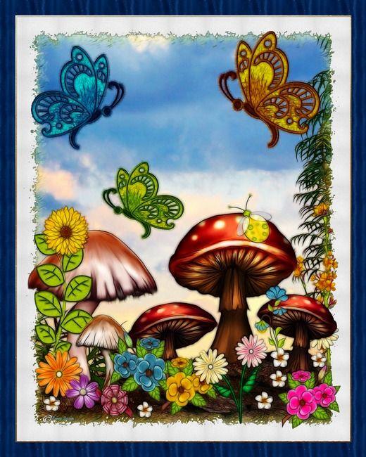 Shroomvilla Summer Whimsical Fantasy Art  by Renee Lozen, Palm Harbor