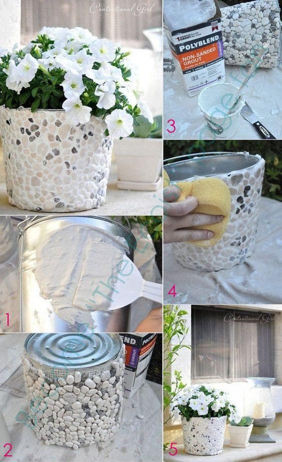 Decorare vasi: carta, sassi, forbici