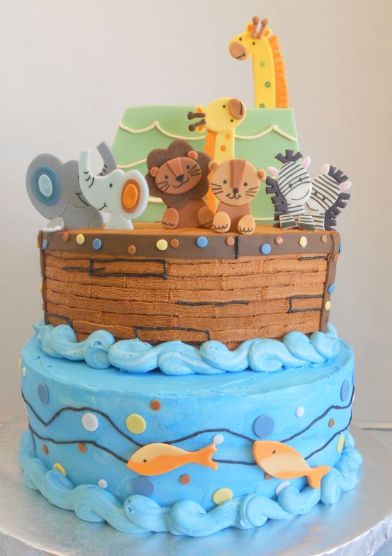 A baby shower cake to match baby's nursery bedding.: