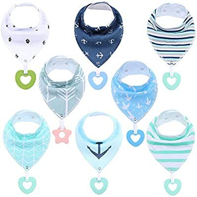 PandaEar Baby Bandana Drool Bibs 6-Pack with Teething Toys Super Absorbent