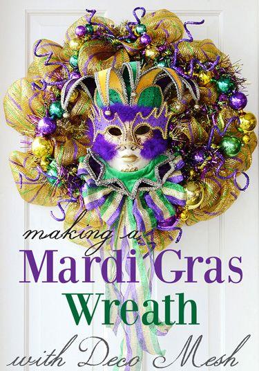 Making a Mardi Gras Wreath with Deco Mesh; a tutorial: